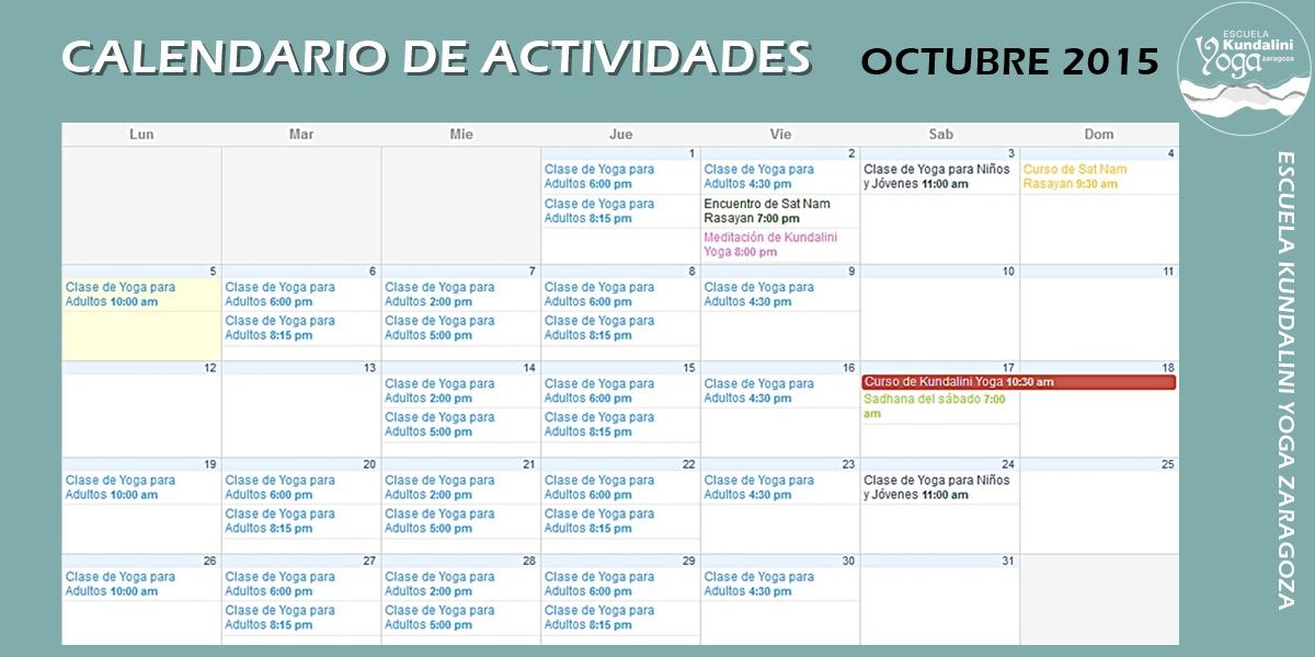 Calendario actividades octubre 2015. Kundalini Yoga Zaragoza