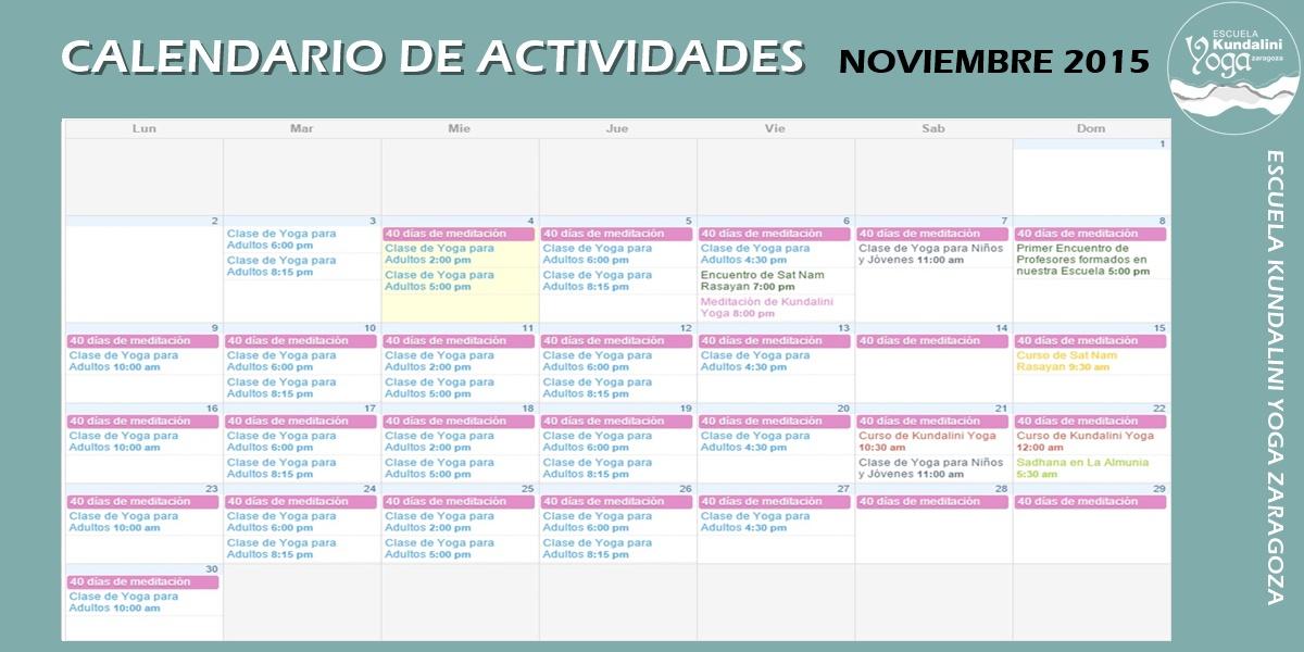 Calendario actividades noviembre 2015. Kundalini Yoga Zaragoza