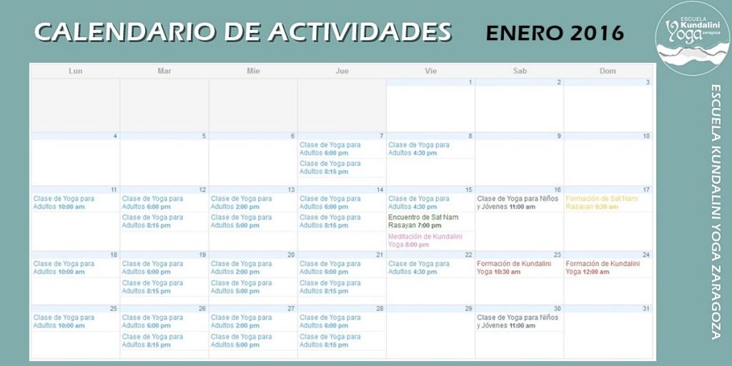 Calendario de actividades. Escuela Kundalini Yoga Zaragoza