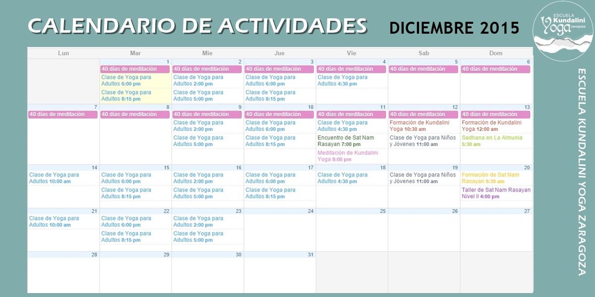 Calendario actividades diciembre de 2015. Kundalini Yoga Zaragoza