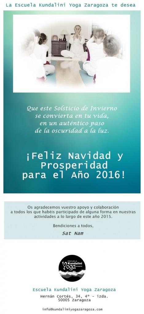 Felicitación Navidad 2015. Escuela Kundalini Yoga Zaragoza