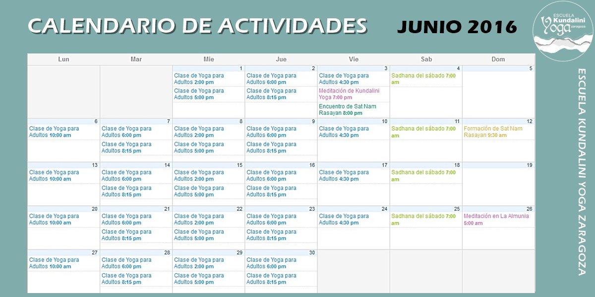 Calendario de Actividades Junio 2016. Escuela Kundalini Yoga Zaragoza