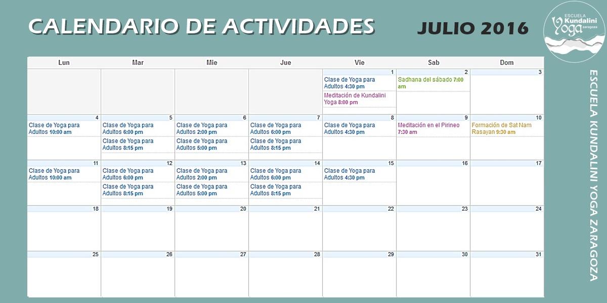 Calendario de Actividades Julio 2016. Escuela Kundalini Yoga Zaragoza