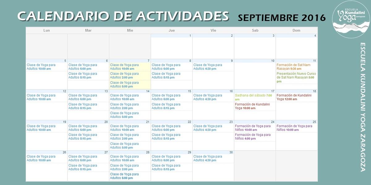Calendario de Actividades Septiembre 2016. Escuela Kundalini Yoga Zaragoza