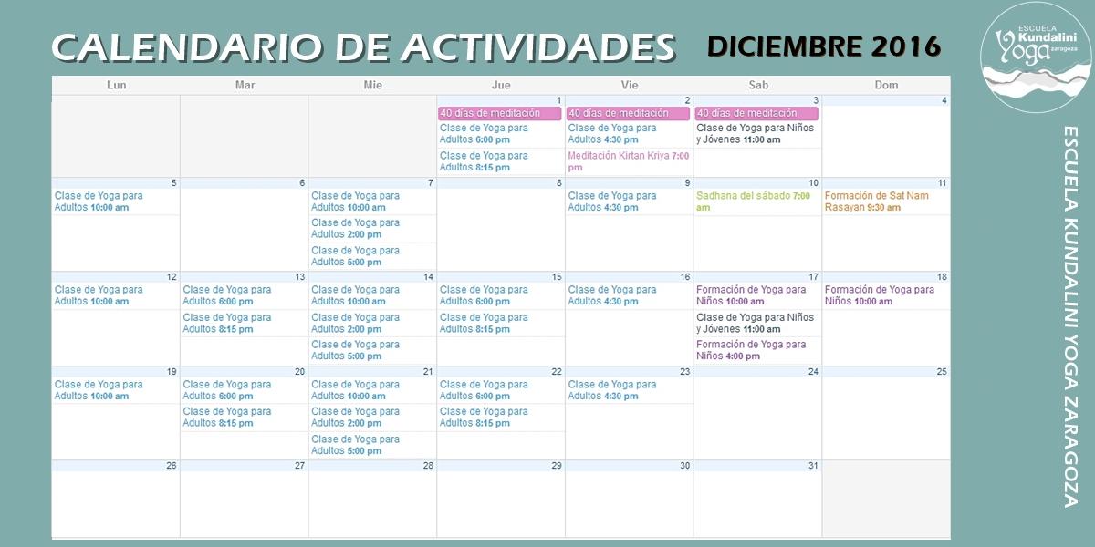 Calendario actividades diciembre 2016. Escuela Kundalini Yoga Zaragoza