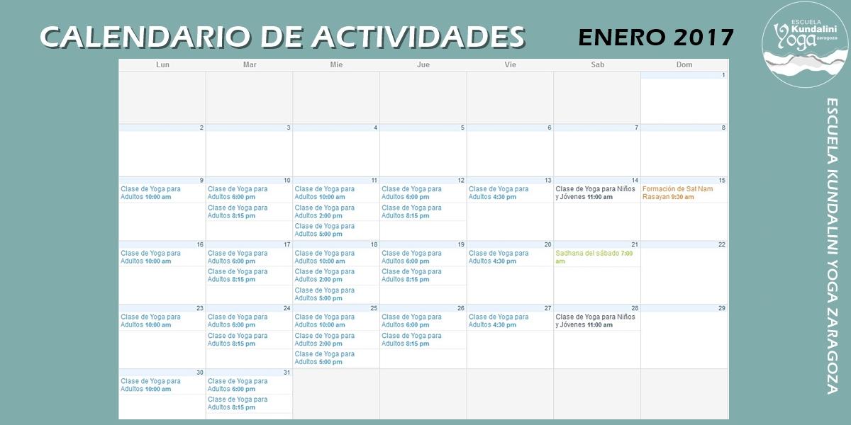 calendario_enero_2017_escuela_kundalini_yoga_zaragoza