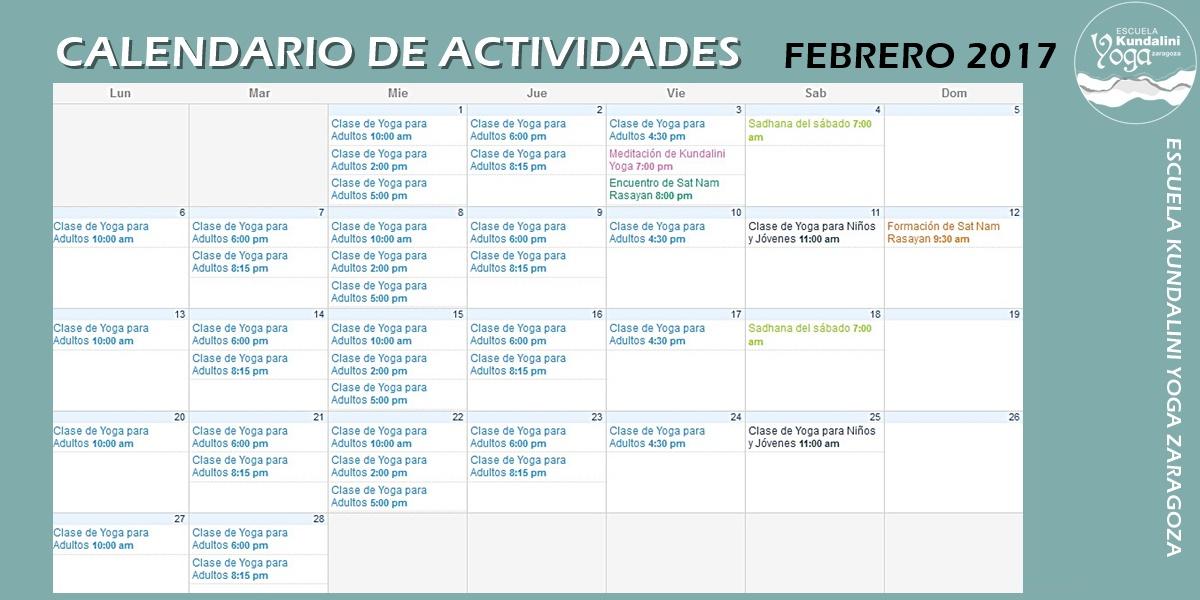 calendario_actividades_febrero_2017_escuela_kundalini_yoga_zaragoza