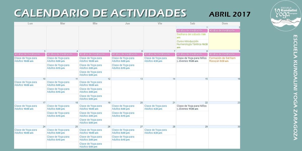 noticias_calendario_de_actividades_abril_2017_escuela_kundalini_yoga_zaragoza