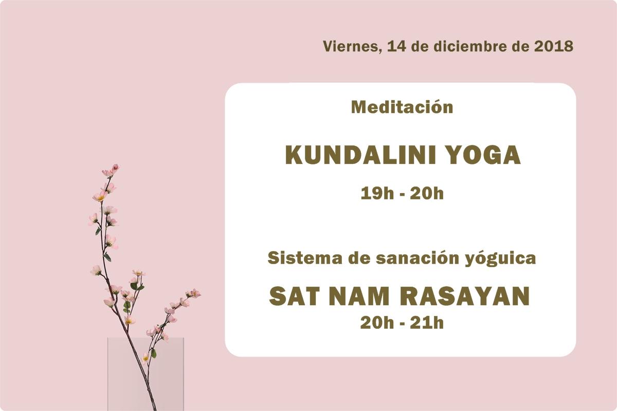 Actividades primer viernes de mes de diciembre de 2018 en la Escuela Kundalini Yoga Zaragoza