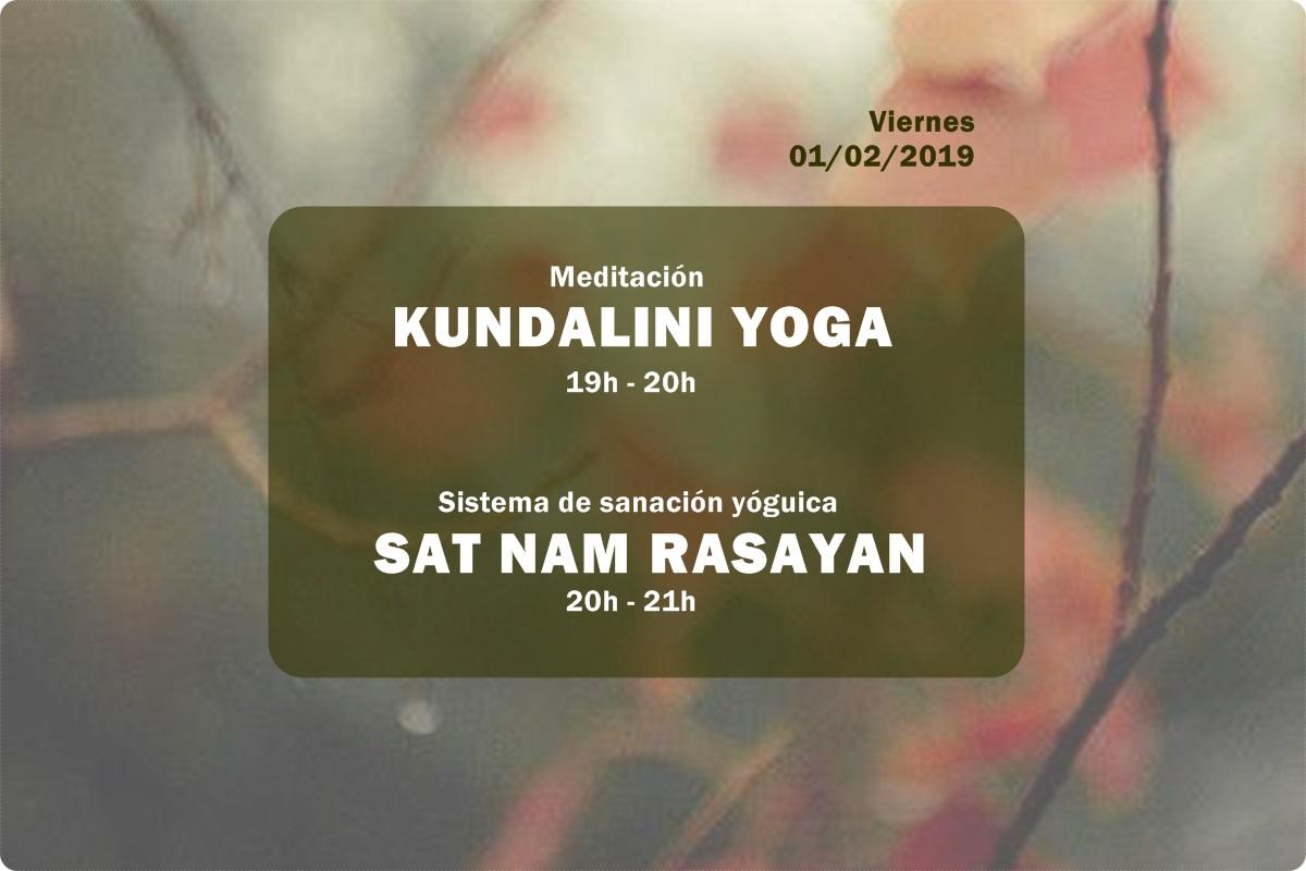 Actividades primer viernes de mes de enero de 2019 en la Escuela Kundalini Yoga Zaragoza
